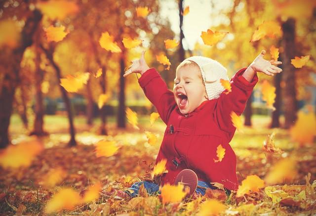 liten jente som leker i høstløvet, hun er ikke redd for bakterier