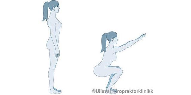 Illustrasjon av dame som tar en knebøy